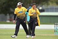 Wellington's Hamish Bennett and Malcolm Nofal during the Ford Trophy One Day match (round five) between Wellington Firebirds and Otago Volts at Bert Sutcliffe Oval in Lincoln, New Zealand on Friday, 29 November 2019. Photo: Martin Hunter / lintottphoto.co.nz