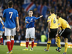 Ian Black complaining to Andy Little as tempers get frayed in the Rangers team during the second half