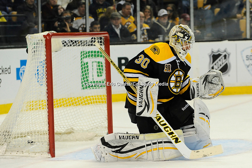 February 8, 2014 - Boston, Massachusetts, U.S. - Boston Bruins goalie Chad Johnson (30) fails to make a save during the NHL game between the Ottawa Senators and the Boston Bruins held at TD Garden in Boston Massachusetts.   Eric Canha/CSM