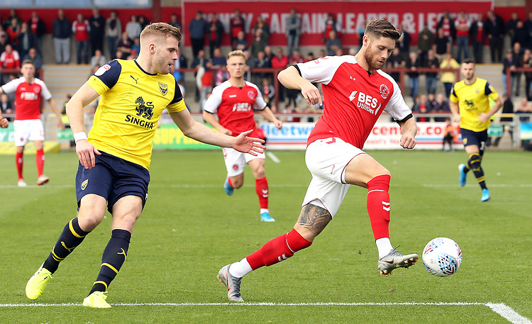 Fleetwood Town's Wes Burns controls under pressure from Oxford United's Chris Cadden<br /> <br /> Photographer Rich Linley/CameraSport<br /> <br /> The EFL Sky Bet League One - Fleetwood Town v Oxford United - Saturday 7th September 2019 - Highbury Stadium - Fleetwood<br /> <br /> World Copyright © 2019 CameraSport. All rights reserved. 43 Linden Ave. Countesthorpe. Leicester. England. LE8 5PG - Tel: +44 (0) 116 277 4147 - admin@camerasport.com - www.camerasport.com