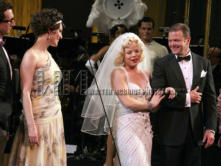 Aaron Lazar, Rachel York, Megan Hilty & Clarke Thorell.during the final performance Curtain Call for the New York City Center ENCORES! Production of 'Gentlemen Prefers Blondes' at City Center in New York City on 5/13/2012.