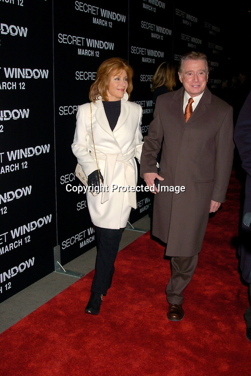 "Joy and Regis Philbin ..at the World Premiere of ""Secret Window"" on March 7, 2004 at the Loews Lincoln Square.                                   Photo by Robin Platzer, Twin Images"