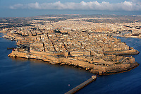 Aerial view of Valletta, Malta, featuring  the harbours and ramparts, pictured on June 7, 2008, in the morning.  The Republic of Malta consists of seven islands in the Mediterranean Sea of which Malta, Gozo and Comino have been inhabited since c.5,200 BC. Nine of Malta's important historical monuments are UNESCO World Heritage Sites, including  the capital city, Valletta, also known as the Fortress City. Built in the late 16th century and mainly Baroque in style it is named after its founder Jean Parisot de Valette (c.1494-1568), Grand Master of the Order of St John. Picture by Manuel Cohen.