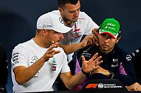 14th November 2019, Autodromo Jose Carlos,Pace, Sao Paolo, Brazil; F1 Grand Prix of Brazil, Driver arrival and Press conference;  Valtteri Bottas, Mercedes AMG F1 andSergio Perez, Racing Point In the press conference