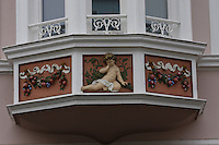 General view of paintwork on the building of Gerry Weber International AG. Speisemarkt, Bingen, Nord Rhein-Westphalia, Germany.<br /> <br /> Gesamtansicht der lackierung auf dem geb&auml;ude des Gerry Weber International AG. Speisemarkt, Bingen, Nord Rhein-Westfalen, Deutschland.