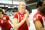 Rüsselsheim, Germany, April 13: Jennifer Geerties #15 of the Rote Raben Vilsbiburg celebrates the win over VC Wiesbaden after play off Game 1 in the best of three series in the semifinal of the DVL (Deutsche Volleyball-Bundesliga Damen) season 2013/2014 between the VC Wiesbaden and the Rote Raben Vilsbiburg on April 13, 2014 at Grosssporthalle in Rüsselsheim, Germany. Final score 0:3 (Photo by Dirk Markgraf / www.265-images.com) *** Local caption ***