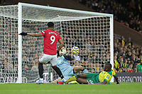 Anthony Martial of Manchester United scores to make it 3-0 during the Premier League match between Norwich City and Manchester United at Carrow Road on October 27th 2019 in Norwich, England. (Photo by Matt Bradshaw/phcimages.com)<br /> Foto PHC/Insidefoto <br /> ITALY ONLY