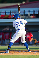 Alex Newman (24) of the Burlington Royals at bat against the Danville Braves at Burlington Athletic Park on July 5, 2014 in Burlington, North Carolina.  The Royals defeated the Braves 5-4.  (Brian Westerholt/Four Seam Images)