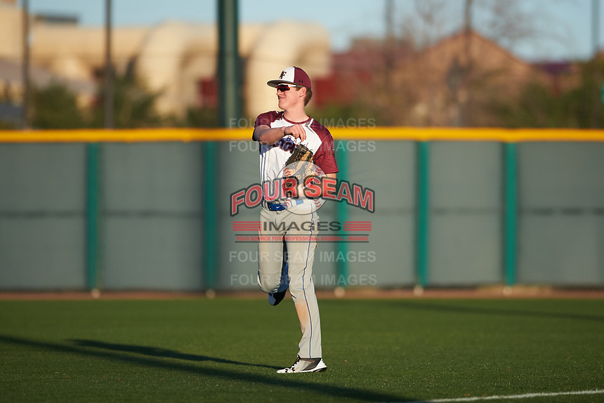 Chase Bennett (4) of Whiteland Community in Whiteland, Indiana during the Baseball Factory All-America Pre-Season Tournament, powered by Under Armour, on January 13, 2018 at Sloan Park Complex in Mesa, Arizona.  (Zachary Lucy/Four Seam Images)