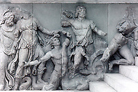 Greek Art: Relief on North Frieze of Altar of Pergamon. Nereus, Doris, a giant, Oceanus.
