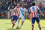 Atletico de Madrid´s Juanfran (L) and Deportivo de la Coruña´s Helder during 2014-15 La Liga match between Atletico de Madrid and Deportivo de la Coruña at Vicente Calderon stadium in Madrid, Spain. November 30, 2014. (ALTERPHOTOS/Victor Blanco)