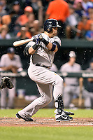 New York Yankees designated hitter Carlos Beltran #36 swings at a pitch during a game against the Baltimore Orioles at Oriole Park at Camden Yards August 11, 2014 in Baltimore, Maryland. The Orioles defeated the Yankees 11-3. (Tony Farlow/Four Seam Images)
