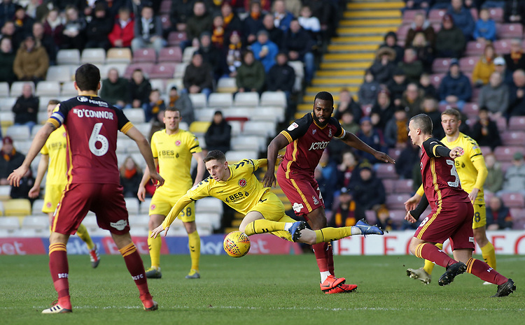 Fleetwood Town's Ashley Hunter battles with Bradford City's Hope Akpan<br /> <br /> Photographer David Shipman/CameraSport<br /> <br /> The EFL Sky Bet League One - Bradford City v Fleetwood Town - Saturday 9th February 2019 - Valley Parade - Bradford<br /> <br /> World Copyright &copy; 2019 CameraSport. All rights reserved. 43 Linden Ave. Countesthorpe. Leicester. England. LE8 5PG - Tel: +44 (0) 116 277 4147 - admin@camerasport.com - www.camerasport.com