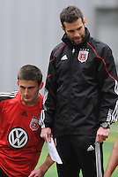 DC United coach Ben Olsen with defender Kitchen Perry (23) at the first official training session of the 2011 MLS season.  At Greenbelt Sportsplex, Friday January 28, 2011.