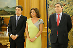 King Juan Carlos of Spain and Prince Felipe of Spain recive in audience to COI representation for candidature of Madrid 2020 Olympic Games in a Zarzuela Place in Madrid. In the pic: Ignacio Gomez, Ana Botella and Miguel Cardenal. September 10, 2013. (ALTERPHOTOS/Caro Marin)