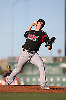 Cal Quantrill (48) of the Lake Elsinore Storm pitches against the Lancaster JetHawks at The Hanger on June 12, 2017 in Lancaster, California. Lancaster defeated Lake Elsinore, 13-6. (Larry Goren/Four Seam Images)