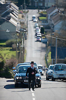 Tuesday 11 March 2014<br /> Pictured: The funeral cortage makes it's way through Pontyberem<br /> Re: Funeral of Baby Eliza Mae takes place in Pontyberem, Wales UK