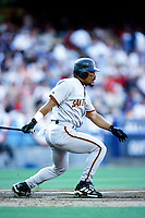 Marvin Benard of the San Francisco Giants bats during a 1999 Major League Baseball season game against the Los Angeles Dodgers at Dodger Stadium in Los Angeles, California. (Larry Goren/Four Seam Images)