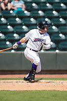 Jake Peter (3) of the Winston-Salem Dash follows through on his swing against the Carolina Mudcats at BB&T Ballpark on April 22, 2015 in Winston-Salem, North Carolina.  The Dash defeated the Mudcats 4-2..  (Brian Westerholt/Four Seam Images)