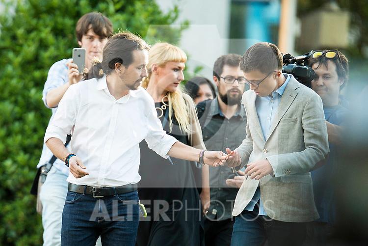 The president of Podemos, Pablo Iglesias and Iñigo Errejon attends to the debate between the 4 principals candidates at Palacio de Congresos in Madrid. June 13, 2016. (ALTERPHOTOS/BorjaB.Hojas)