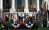 Pope Benedict XVI makes a speech during the Arrival Ceremony hosted by the president and Mrs Bush on his honor,  in the South Lawn of the  White House, Washington DC, April 16, 2008.