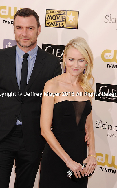 SANTA MONICA, CA - JANUARY 10: Liev Schreiber and Naomi Watts arrive at the 18th Annual Critics' Choice Movie Awards at The Barker Hanger on January 10, 2013 in Santa Monica, California.