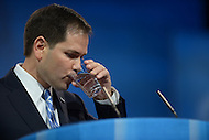 March 14, 2013  (National Harbor, MD)  U.S. Senator Marco Rubio (R-FL) drinks water as he addresses attendees at the 2013 Conservative Political Action Conference (CPAC).  (Photo by Don Baxter/Media Images International)