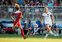 Boyds, MD. - Saturday, June 24 2017:  Lindsey Horan, Estelle Johnson during a regular season National Women's Soccer League (NWSL) match between the Washington Spirit and the Portland Thorns FC at Maureen Hendricks Field, Maryland SoccerPlex.<br />  The Washington Spirit defeated the Portland Thorns FC 1-0.