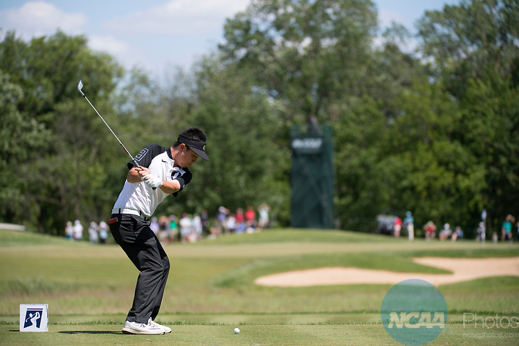 SUGAR GROVE, IL - MAY 31: Edwin Yi of the University of Oregon tees off during the Division I Men's Golf Team Championship held at Rich Harvest Farms on May 31, 2017 in Sugar Grove, Illinois. (Photo by Jamie Schwaberow/NCAA Photos via Getty Images)