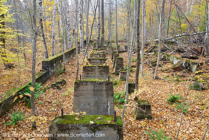 Remnants of the sawmill in the abandoned town of Livermore during the autumn months. This was a logging town in the late 19th and early 20th centuries along the Sawyer River Logging Railroad in Livermore, New Hampshire. The town and railroad were owned by the Saunders family.