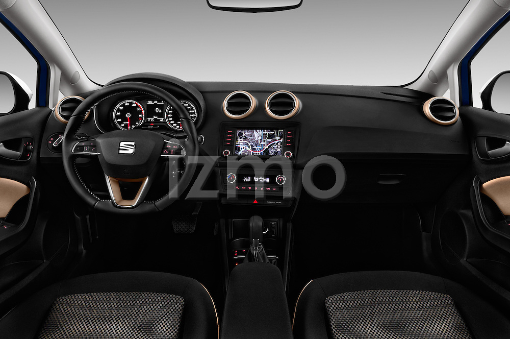 Stock photo of straight dashboard view of 2016 Seat Ibiza ST Style 5 Door Wagon Dashboard