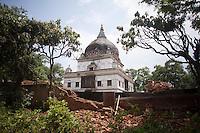 Heavily damaged structures in Kathmandu, Nepal