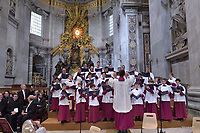Members of Sydney's St Mary's Cathedral College Choir, Australia, perform prior to the arrival of Pope Francis to celebrate a Pentecost mass, in St. Peter's Basilica, at the Vatican, Sunday, May 20, 2018.