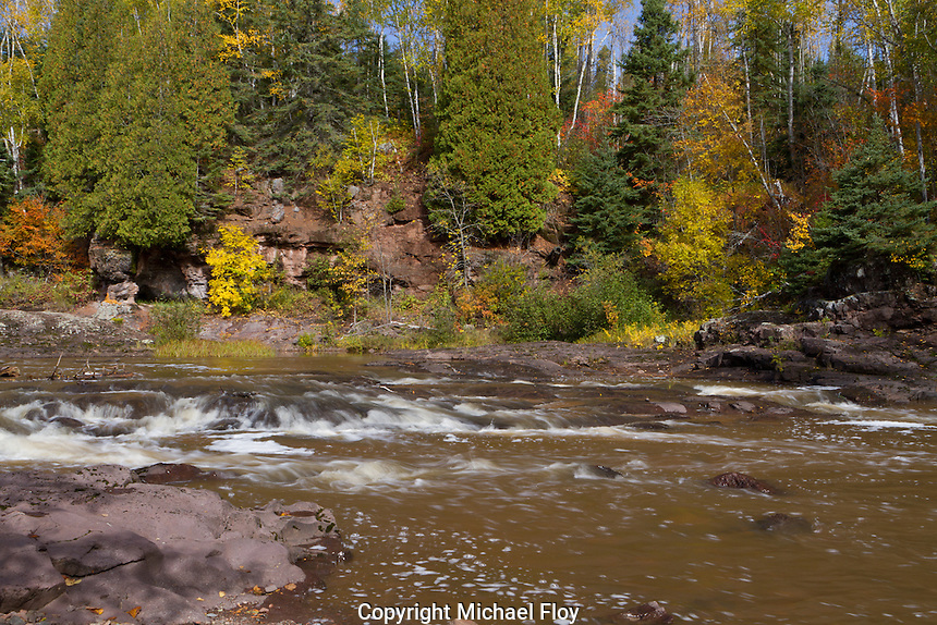 View along Gooseberry River of fall colors.