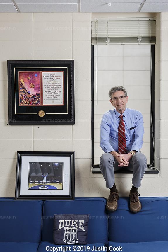 Portrait of Pulitzer Prize winner Dr. Robert J. Lefkowitz, M.D., Investigator, Howard Hughes Medical Institute, James B. Duke Professor of Medicine and Professor of Biochemistry and Chemistry in Durham, North Carolina, Tuesday, May 21, 2019  (Justin Cook)