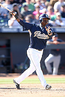 Luis Durango - San Diego Padres, playing in a spring training game against the Cleveland Indians at Peoria Stadium, 03/14/2010..Photo by:  Bill Mitchell/Four Seam Images.