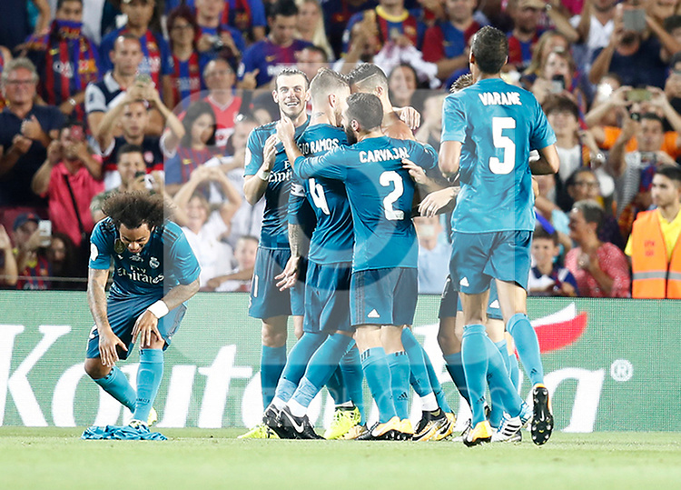 Real Madrid's players celebrate goal during Supercup of Spain 1st match. August 13,2017. (ALTERPHOTOS/Carrusan)