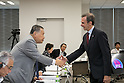 (L-R) Yoshiro Mori, Marco Maria Scolaris, AUGUST 7, 2015 : The Tokyo 2020 Organising Committee interviews members of the International Federation of Sport Climbing (IFSC), as it considers new events for inclusion in the 2020 Tokyo Olympic Games, Tokyo, Japan. (Photo by Uta MUKUO/Tokyo2020/AFLO)