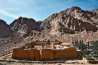 Monastery of Saint Catherine located at the foot of Mount Moses, in the Sinai of Egypt.  It was constructed by order of the Emperor Justinian between 527 and 565.. Built around what is thought to be Moses' burning bush.