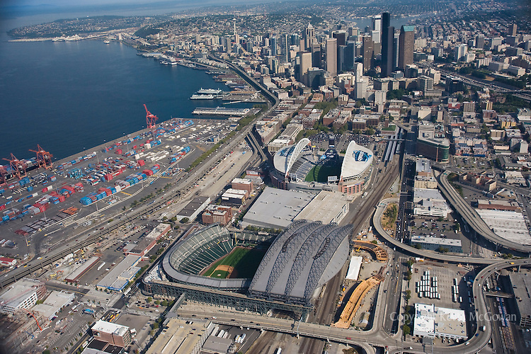 Aerial of Safeco Field in Seattle, showing construction of new I-90 off-ramp to Edgar Martinez Drive and the Royal Brougham Way bridge, east of Safeco Field. The structures are part of the SR 519 Intermodal Access project.