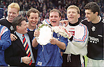Erik Bo Andersen, Jimmy Bell, Alec Cleland, Paul Gascoigne, Andy Goram and Gordan Petric ham it up after winning the 1996 Scottish Cup Final