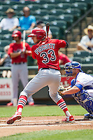 Memphis Redbirds outfielder Stephen Piscotty #33 at bat during the Pacific Coast League baseball game against the Round Rock Express on April 27, 2014 at the Dell Diamond in Round Rock, Texas. The Express defeated the Redbirds 6-2. (Andrew Woolley/Four Seam Images)