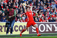 Connor Roberts of Wales takes a throw in during the UEFA EURO 2020 Qualifier match between Wales and Slovakia at the Cardiff City Stadium, Cardiff, Wales, UK. Sunday 24 March 2019