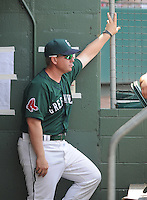 August 17, 2008: Manager Kevin Boles of the Greenville Drive, Class A affiliate of the Boston Red Sox, in a game against the West Virginia Power at Fluor Field at the West End in Greenville, S.C. Boles was named 2010 manager of the Salem Red Sox on Dec. 22, 2009. Photo by:  Tom Priddy/Four Seam Images