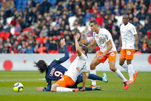 05.03.2016. Paris, France. French League 1 football. Paris St Germain versus Montpellier.  Edinson Roberto Paulo Cavani Gomez (psg) and Daniel CONGRE (Montpellier)