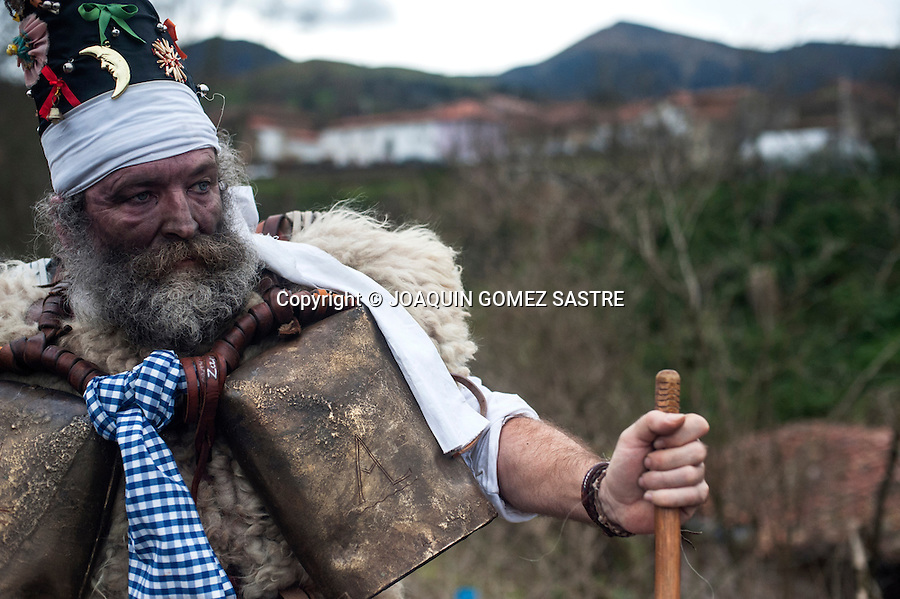 Portrait of one of the main characters zarramacos carnival in the town Vijanera Silio (Cantabria) one of the first carnival of the year