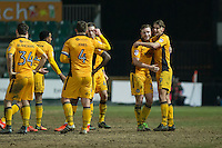 Newport players celebrate their point at full time of the goalless Sky Bet League 2 match between Newport County and Doncaster Rovers at Rodney Parade, Newport, Wales on 10 February 2017. Photo by Mark  Hawkins / PRiME Media Images.