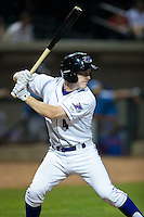 Toby Thomas (4) of the Winston-Salem Dash at bat against the Myrtle Beach Pelicans at BB&T Ballpark on April 18, 2016 in Winston-Salem, North Carolina.  The Pelicans defeated the Dash 6-4.  (Brian Westerholt/Four Seam Images)