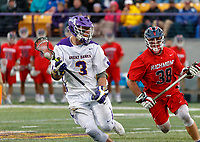 TD Ierlan (#3) wins a faceoff from Nick D'Amario (#38) as UAlbany Men's Lacrosse defeats Richmond 18-9 on May 12 at Casey Stadium in the NCAA tournament first round.