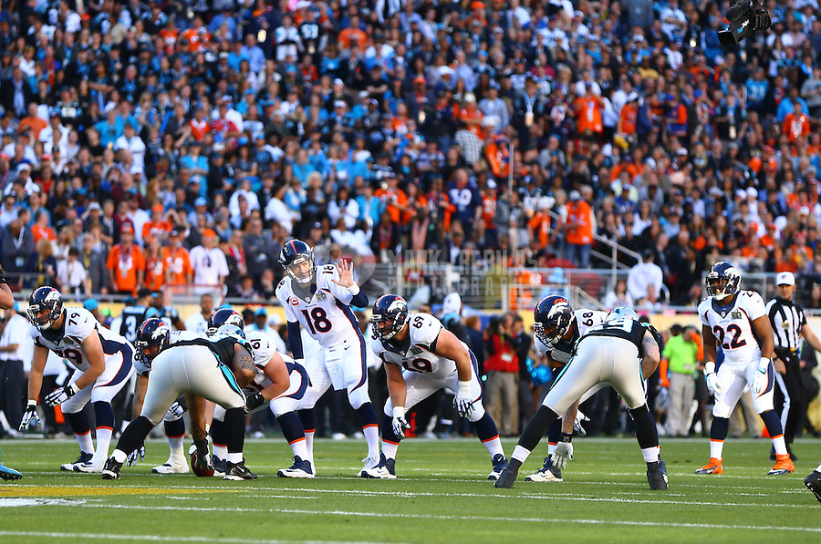 Feb 7, 2016; Santa Clara, CA, USA; Denver Broncos quarterback Peyton Manning (18) reacts against the Carolina Panthers in Super Bowl 50 at Levi's Stadium. Mandatory Credit: Mark J. Rebilas-USA TODAY Sports